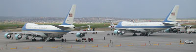 air force one and angel force one on the tarmac at calgary international airport, june 27, 2002