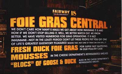 Fairway foie gras sign